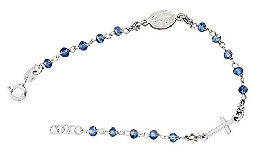 Rosario pulsera de plata de ley 925 con perlas azules, colgante de cruz y María Hobra-Gold
