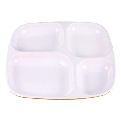 Hemoton Platos Divididos de 4 Compartimentos Bandejas de Almuerzo de Plástico Plato de Aperitivos con Divisores Vajilla para Niños Adultos Bebés Comiendo Alimentación