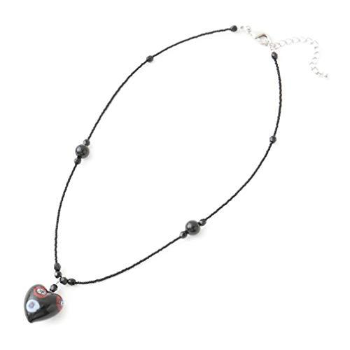 イタリア製 ヴェネチアン グラス レディース ミッレフィオーリ ハート 手作り 1点もの ネックレス ペンダント