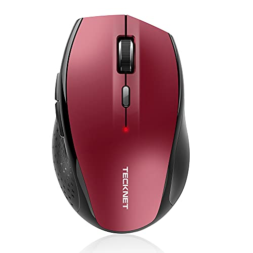 Bluetooth Wireless Mouse, TECKNET 5 Adjustable DPI Levels, 24-Month Battery Life, 6 Buttons Compatible for Ipad/Laptop/Surface Pro/Windows Computer/Chromebook-Red