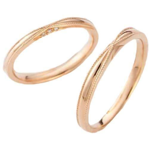 [京都ジュエリー工房] 結婚指輪 18金 マリッジリング k18 ゴールド リング (純金 75%) ダイヤ入り 2本 ペアリング 「花連・KAREN」 ODA-6MML メンズ20号・レディース12号