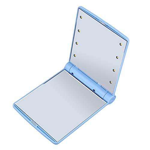 Summerwindy 1 Stück Frauen Faltbare Kosmetik Spiegel Dame Kosmetik Hand Faltbare Tragbare Kompakter Taschenspiegel 8 Led Lichter Lampen Drop (Blau)