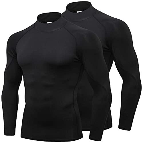 Mens 2 Pack Mock Turtleneck Compression Shirt Long Sleeve Sports Undershirt Wicking Athletic Baselayer Running T-Shirt