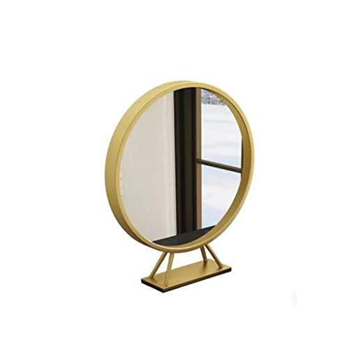 LDJ Nordic Hierro Forjado sobremesa baño Espejo Redondo con Base Vestir Espejo Espejo de Piso (Size : 70cm)