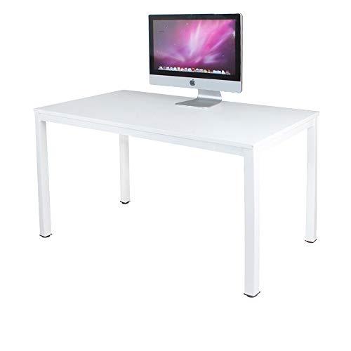 sogesfurniture Schreibtisch Computertisch Büromöbel PC Tisch, Stabil Bürotisch Arbeitstisch Esstisch aus Holz und Stahl, Einfache Montage, 120x60x75cm, Weiß AC3W-120-SF