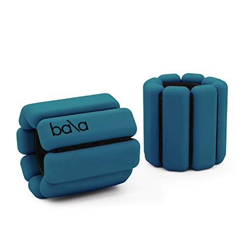 Bala Bangles | As Seen on Shark Tank | Fully Adjustable Wearable Wrist & Ankle Weights | Yoga, Dance, Barre, Pilates, Cardio, Aerobics, Walking | 1 Pound Each, 2 Per Set (Deep Blue)