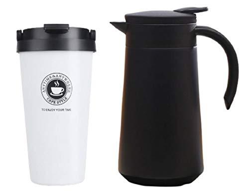 pack de Termo de Acero Inoxidable portátil con Mango 800ml + tazas de termo con aislamiento de sellado de frasco de vacío mango portátil de café para coche Termos botella de agua 500ML