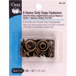 Dritz (3-Pack) Heavy Duty Snap Fasteners 5/8 inch 6 Pack Antique Brass 981-38