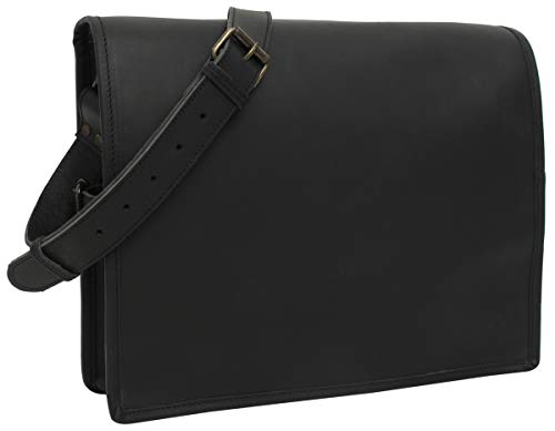 Gusti Gepäckträgertasche Leder - \'Mitch\' Umhangetäsche Arbeitstasche Bürotasche Lehrertasche Messenger Bag Fahrradtasche Ortlieb-System Gepäckträgertasche Schwarz Leder