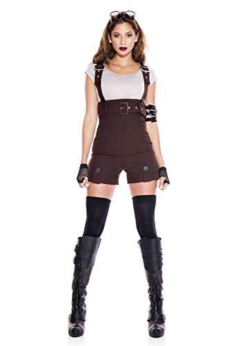 5 PC. Ladies Steampunk Pilot Costume Set - Medium/Large - Brown