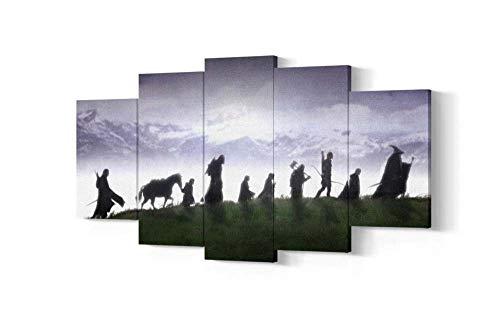 KOPASD 5 Piezas Pintura De Pared Sala De Estar De Arte Anillo de compañerismo HD Print De Decoración para El Hogar para (Enmarcado Tamaño 150x80cm)