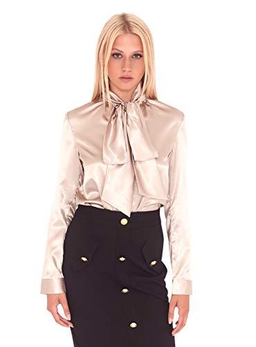 UNIQUE 21 Blusa de satén para Mujer, Estilo Informal, para el día de la Noche, para el Trabajo, la Oficina, Blusas Beige Champán. 50
