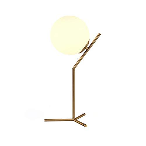 ZWL Glass Ball Tischlampe Retro Vintage Tischlampe E27 Attic Schlafzimmer neben Lampe Gold Schwarz,12w White Light