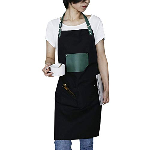 ZFFLYH Keukenschort, Koreaanse manier lederen band werken schort waterdicht en olieproof restaurant nail winkel werkkleding volwassenen schort