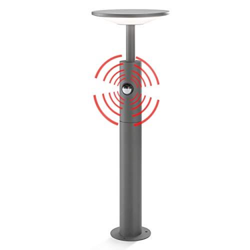 Moderne LED Sensor Wegeleuchte Lichtfarbe warmweiß 3000K, Leistung 15 Watt 900 lm, Einstellbarer Bewegungsmelder max. 10m Reichweite, (D x H): 21 x 60cm Pollerleuchte Außenleuchte esotec 201176