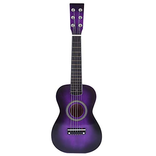 Matuke Kindergitarre, 23 6 Saiten Kinder Spielzeug Gitarre Erste Musikinstrument, Spielzeug Holzgitarre Geeignet für ab 3 Jahren - Lila