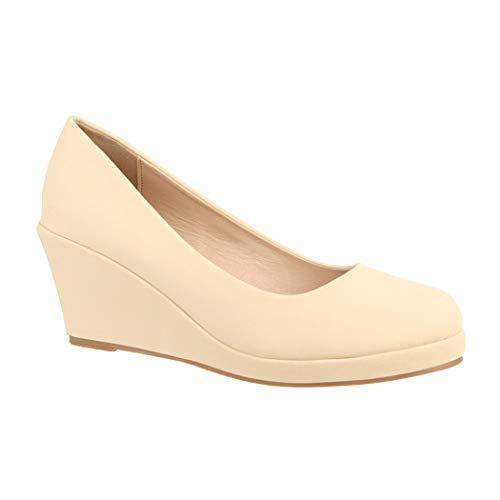 Elara Damen Pumps Keilabsatz Schuhe mit Plateau Chunkyrayan B8011 Beige-41