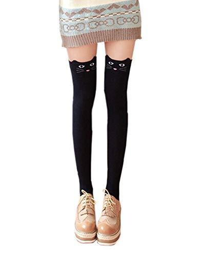 Crystallly vrouwen Fashiondje schattige dieren cartoon knieën die sokken Fancy eenvoudige stijl jurk elegante halsloos voorjaar herfst