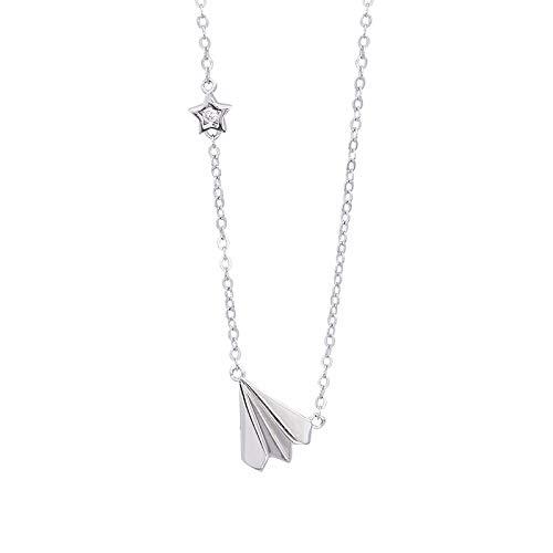 WYFLL Mode Persönlichkeit Beliebte Silber Mode Einfache Papierwürfel Zirkon Anhänger Halskette Schlosskette Erste Dekoration