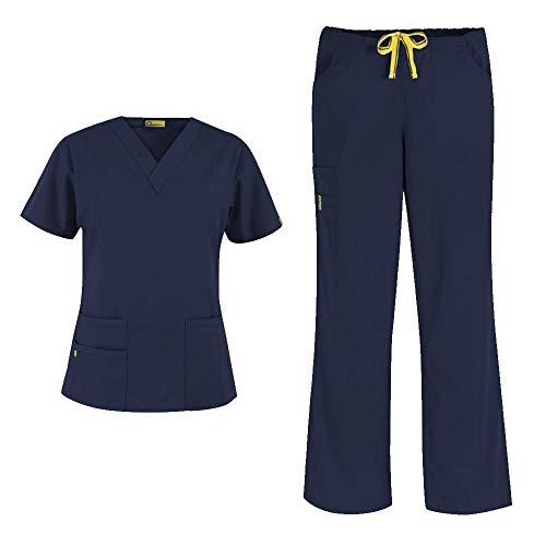 WonderWink Origins Women's 6016 Bravo Top & Romeo Pant 5026 Medical Uniform Scrub Set (Navy - Medium - Medium Petite)