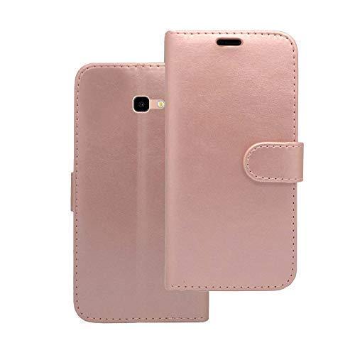 Cover Custodia a Portafoglio in Oro Rosa Compatibile con Samsung Galaxy J4 Plus 2018