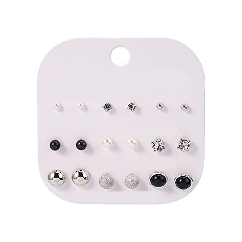 1 juego de pendientes para niñas con forma de perla pequeña y circonita mate