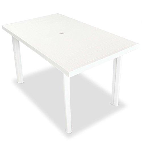 Tidyard Gartentisch Garten Esstisch Kunststofftisch Gartenmöbel Tisch Kunststoff Tischplatte mit 3,6 cm Schirmloch Größe