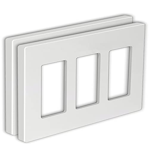 [2 Pack] BESTTEN 3-Gang Screwless Wall Plate, USWP4 White Series, Decorator Outlet Cover, H4.69
