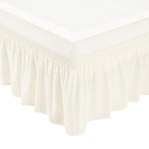 Amazon Basics Three Sided Wrap Around Ruffled Bed Skirt with Easy Fit Elastic, 16' Drop - Full/Queen, Off-White
