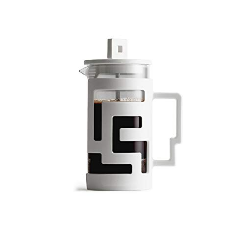 800ml Cafetiere Prensa francesa con filtro Cafetera Máquina de vidrio brosilicato Diseño moderno-White-300ml