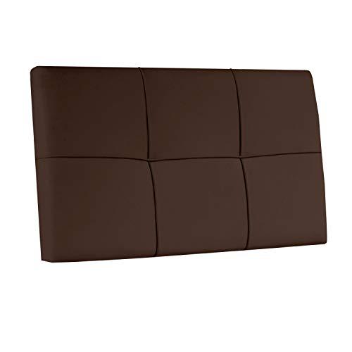 Square, Cabecero Acolchado de Cama de Dormitorio Individual, Cabezal, Acabado en Simil Piel Color Chocolate, Medidas: 100 cm (Largo) x 55 cm (Alto) x 4 cm (Fondo)