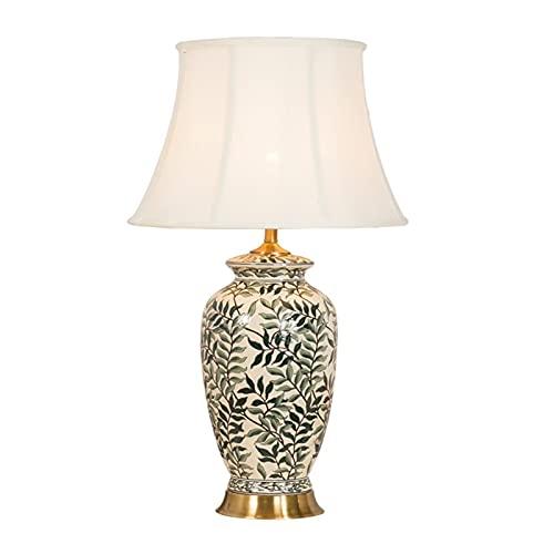 KMDJ Lámpara de mesa, sala de estar, lámpara de noche, lámpara de estudio retro lujoso Cerámica pintada clásica