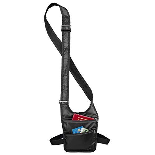 Hama Sicherheitstasche (Umhängetasche mit Hüftgurt und Gürtelschlaufe, sichere Wertsachen- und Geldaufbewahrung auf Reisen, Schulter-Tasche) schwarz