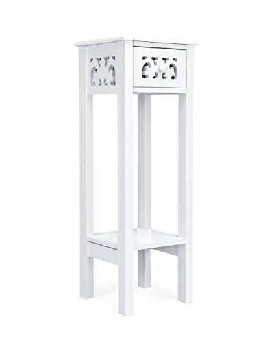 woodluv Provence Fretwork French Inspired Hallway Side Table Bedside Unit in MDF- White