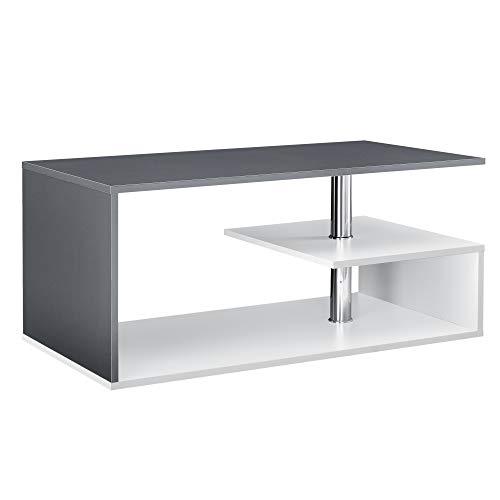 [en.casa] Mesa de Centro 90cm x 50cm x 41cm Mesa de café Mesa Auxiliar para salón Blanco y Gris Oscuro