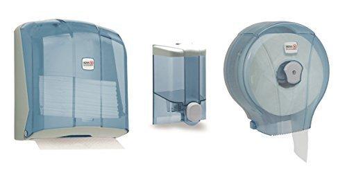 Nova Profi dispensador Juego dispensador de jabón dispensador de papel higiénico Dispensador de inodoro dispensador, Transpartent Blau