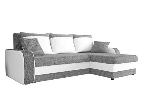 Ecksofa Kristofer Lux, Eckcouch Couch! mit Schlaffunktion, Zwei Bettkasten, Farbauswahl, Wohnlandschaft! Bettfunktion! Design L-Form Sofa! Seite Universal! (Florida 01 + Rain 01.)
