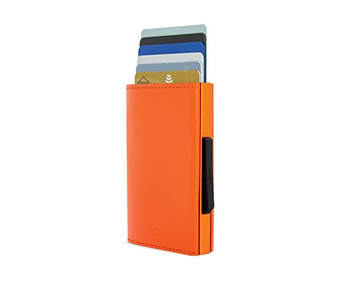 Ögon Smart Wallets - Cascade Wallet - RFID Protection : Protects Your Cards from Stealing - Up to 8 Cards + receits + Notes - Anodised Aluminium & Leather (Orange)