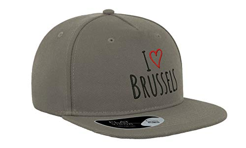 I Love Bruselas City Travel Bélgica Bordado Visera Plana Gorra Unisex Snapback Transpirable Sombrero De Béisbol Gorra Fullcap Cómodo Al Aire Libre Superior