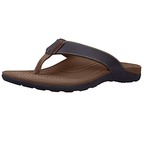 Orthotic Sandals Stylish Thong Flip Flops Men Ultra Comfort Slippers with Arch Support for Plantar Fasciitis, Flat Feet & Heel Spur (Brown EUR 45)