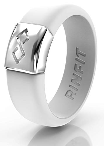 Rinfit Silicone & Metal Wedding Rings for Women. (Silicone-White & Metal-Silver. #SM06_Size 5)