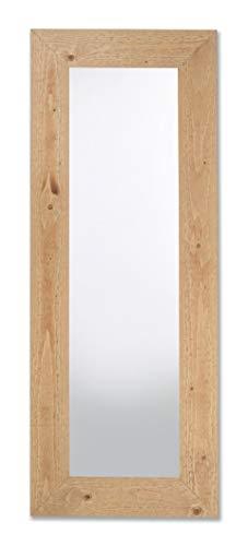 Espejo Rectangular De Pared con Marco de Madera Abeto FSC Acabado Natural Claro cm. 57x147. Colgar Vertical y Horizontal Fabricado en Italia. Hecho A Mano