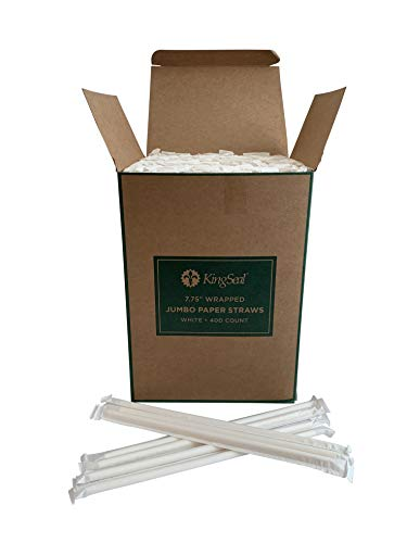 Kingseal Disposable Paper Drinking Straws, Paper Wrapped, WHITE, 7.75 Inch Length x 6mm Diameter, Jumbo Size, Biodegradable, Earth Friendly, Bulk Pack - 1 Master Case of 8/400 (3,200 straws total)