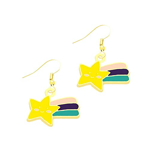Earrings For Women Fashion Drop Earrings Colorful Rose Flower Rainbow Stars Simple Cool Cute Jewelry Girls Gift-46