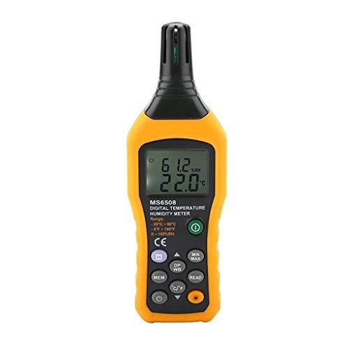 YUTRD ZCJUX La Temperatura y la Humedad del Metro del calibrador con luz de Fondo Psicrómetro Digital termómetro higrómetro, Punto de rocío y la Temperatura de Bulbo húmedo
