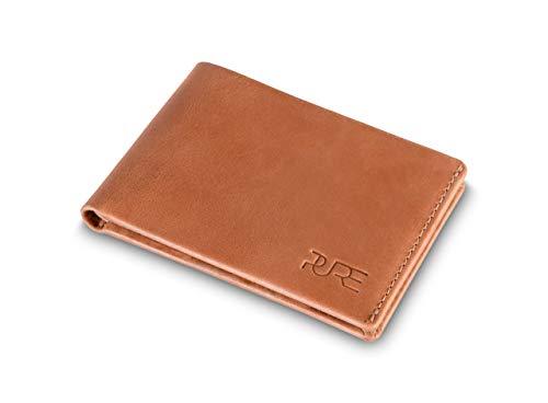 Cartera Zeta Tarjetero de Hombre de Piel auténtica con protección RFID I Billetero Fino sin Monedero I Cuero marrón