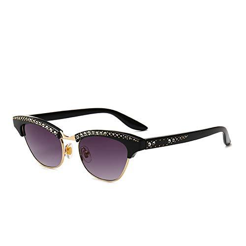 YANPAN Gafas De Sol De Ojo De Gato con Diamantes De Personalidad, Gafas De Sol De Tendencia De Moda Callejera Americana C1, Montura Negra, Doble Gris