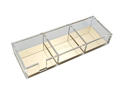 Dany Marcus Schreibtisch Organizer aus transparentem, klaren Acryl mit Golddetails, 3 Fächer