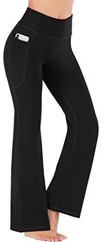 Heathyoga Women Bootcut High Waist Yoga Pants with Pockets, Black, Large