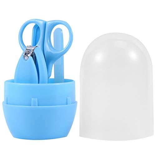FRCOLOR 1 Set / 4 Stks Baby Nagelschaartje Set Plastic Handige Kinderen Nagelknipper Schaar Pincet Nagelvijl Peuter Grooming Tools Voor Pasgeboren Baby Pedicure Kit (Blauw)